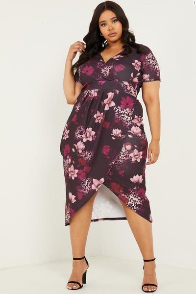 Curve Berry Floral Wrap Midi Dress